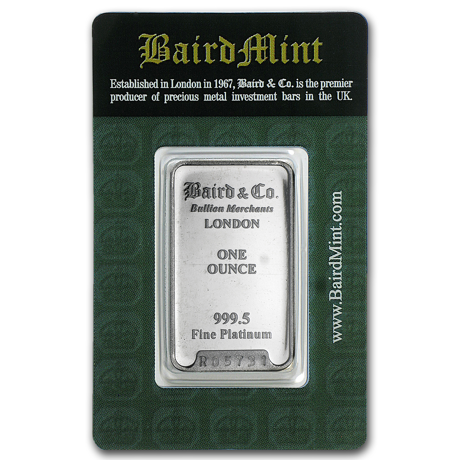 1 oz Platinum Bar - Baird & Co. (In Assay)